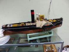 A LARGE SCRATCH BUILT MODEL OF A PADDLE STEAMER, THE EPPELTON HALL, COPPER CLAD HULL, FITTED WITH