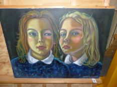 RICHARD TURNERAMON. (1940-2013) ARR. STUDY OF SOPHIE AND ANOTHER PORTRAIT OF TWO GIRLS, BOTH
