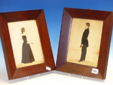 19th.C.ENGLISH NAIVE SCHOOL. A PAIR OF PORTRAITS, A STANDING GIRL AND BOY IN PROFILE, WATERCOLOURS