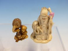 AN IVORY FIGURE OF JUROJIN STANDING BY A CRANE. H 6cms. TOGETHER WITH A IVORY FIGURE OF A CHILD