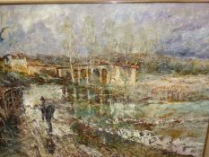 LATE 20th.C.CONTINENTAL SCHOOL. A FIGURE ON A TRACK BY THE RIVER, SIGNED INDISTINCTLY, OIL ON