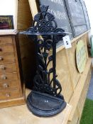 A 19th.C.CAST IRON STICKSTAND DESIGNED BY DR.CHRISTOPHER DRESSER. H.71cms.