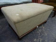 A VICTORIAN BOX OTTOMAN WITH TAPERED SIDES ON TURNED BUN FEET. 94 x 60 x H.45cms.