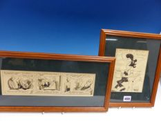 A WACK ORIGINAL BEST WISHES CARTOON TOGETHER WITH A BOXING CARTOON OF THREE SCENES, THE FRAME SIZE