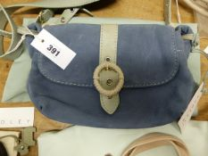 A RADLEY GREY BLUE UNPOLISHED LEATHER SHOULDER BAG WITH CORD AND GREY GREEN LEATHER STRAP AND BUCKLE
