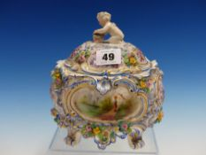 A PASSAU COVERED PORCELAIN BOWL PAINTED WITH BLUE ROCOCO FRAMED RESERVES OF A WATER MILL AND OF A