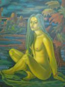 RICHARD TURNERAMON. (1910-2013) ARR. LOTUS, INSCRIBED VERSO, OIL ON CANVAS, UNFRAMED. 122 x 90cms.