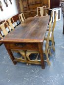 A 19th.C.WALNUT FARMHOUSE KITCHEN TABLE WITH TWO END DRAWERS AND STRETCHER BASE. 89 x 178 x H.
