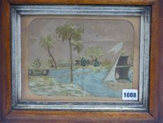 A 19th.C.SILKWORK PICTURE OF A COLONIAL PORT IN MAPLE FRAME. 16.5 x 22cms TOGETHER WITH A