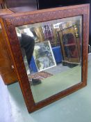 A 19th.C.MARQUETRY INLAID WALL MIRROR.
