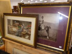 A LARGE VINTAGE PHOTOGRAPH OF A CAVALRY OFFICER TOGETHER WITH A COLOUR PRINT ENTITLED LOVES YOUNG