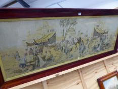 A LARGE MACHINE TAPESTRY OF AN EASTERN ENCAMPMENT.