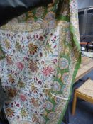TWO VINTAGE INDIAN FLORAL PRINTED COTTON PANELS. LARGEST 250 x 175cms.