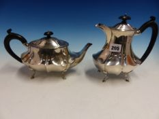 A SILVER TEAPOT AND HOT WATER POT. B'HAM 1924, W.30ozs.
