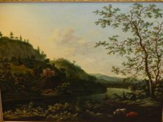 OLD MASTER SCHOOL A RIVERSCENE WITH FOREGROUND FIGURES AND CATTLE, OIL ON PANEL IN A CARVED GILTWOOD