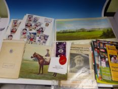 A COLLECTION OF ASTON VILLA,FACSIMILE SIGNED ST ANDREWS PRINTS, CRICKET, HORSE RACING AND OTHER