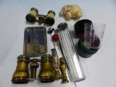 TWO PAIRS OF OPERA GLASSES, HAT PINS, SILVER SMALL PIN TRAY, A DESK SEAL AND A CARVED IVORY
