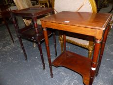 TWO 19th.C.MAHOGANY TWO TIER SIDE TABLES.