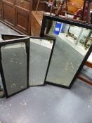 THREE ANTIQUE EBONISED FRAME WALL MIRRORS, LARGEST 58 x 92cms.