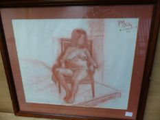 20th.C.BRITISH SCHOOL. TWO NUDE STUDIES, CHALK AND CHARCOAL, BOTH INSCRIBED. LARGEST 40 x 58cms. (