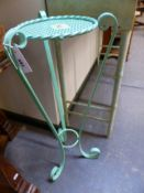 TWO PAINTED METAL PLANT STANDS WITH SCROLL SUPPORTS. LARGEST H.82cms.
