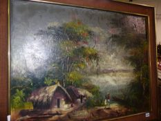 20th.C.COLONIAL SCHOOL. A RIVERSIDE THATCHED DWELLING SIGNED INDISTINCTLY, OIL ON BOARD. 64 x
