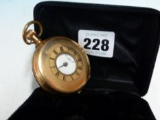 VINTAGE OPEN FACE POCKET WATCH IN A PLATED DENNISON CASE.