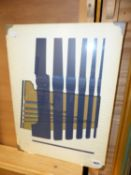 R.HASELDEN. 20th.C.SCHOOL. ABSTRACT COMPOSITION, PENCIL SIGNED AND INSCRIBED COLOUR PRINT. 51 x