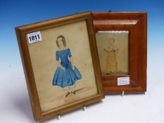 19th.C.ENGLISH NAIVE SCHOOL. TWO PORTRAITS OF GIRLS, WATERCOLOURS. LARGEST 19 x 15.5cms. (2)