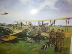 AFTER TERENCE CUNEO. (1907-1996) FIRST AIR POST, SIGNED COLOUR PRINT MOUNTED BUT UNFRAMED. 57 x
