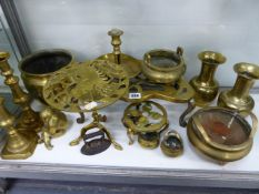 FOUR ORIENTAL BRASS CENSORS, A PAIR OF EASTERN VASES, VICTORIAN CANDLESTICKS, ETC. (QTY)