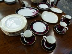 A COLLECTION OF PART SERVICES OF HAVILLAND LIMOGES, DOULTON DESIRE AND SPODE PORCELAIN.