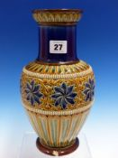 A DOULTON BALUSTER STONE WARE VASE DECORATED BY FRANCES LEE. H 28cms.