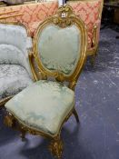 A PAIR OF 19th.C.FRENCH GILTWOOD CAMEO BACKED SALON CHAIRS.
