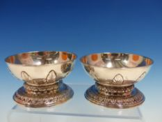 TWO SILVER SALTS OF MATCHING PATTERN AND SIZE, ONE MARKED FOR ARCHAMBO AND MAURE, LONDON 1749, STIFF