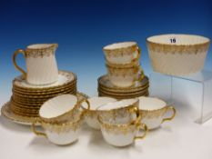 A LATE 19th C. MINTON G7576 PATTERN PART TEA SERVICE, EACH OF THE SWIRL FLUTED PIECES GILT WITH