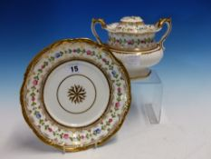 A DAVENPORT 1084 PATTERN PART TEA AND COFFEE SERVICE PAINTED WITH A CHAIN OF FLOWERS WITHIN GILDING,