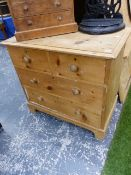 A PINE CHEST OF TWO SHORT AND TWO LONG DRAWERS ON BRACKET FEET. W 86 x D 48.5 x H 79cms.