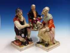 A PAIR OF STAFFORDSHIRE POTTERY COBBLER AND TOPER FIGURES ON SQUARE BASES. H.31cms. TOGETHER WITH