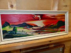 GEORGE R. DEAKINS. (1922-1982) ARR. TWO LANDSCAPES, SIGNED, ARTIST'S LABELS VERSO, OIL ON BOARD.