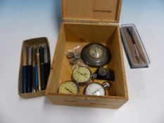 A COLLECTION OF PARKER AND OTHER PENS, TWO WALTHAM STOP WATCHES, ANOTHER BY SMITHS, THREE