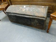 AN ANTIQUE VELUM COACHING TRUNK WITH BRASS STUD DECORATION AND TWO LOCKS. 108 x 51 x H.47cms.