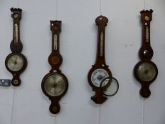 AN ADMIRAL FITZROY WALL BAROMETER TOGETHER WITH FOUR 19th.C.BANJO BAROMETERS FOR RESTORATION. (5)