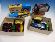 THREE BOXED CORGI BUSES, ANOTHER BUS, ELEVEN DINKY AMERICAN CARS, FIVE OTHER TOY VEHICLES AND A