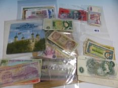 A SMALL COLLECTION OF WORLD BANK NOTES. (QTY)