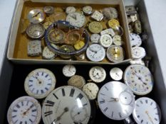 A COLLECTION OF ANTIQUE POCKET AND WRIST WATCH MOVEMENTS.