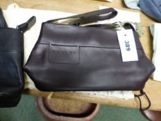 TWO RADLEY BLACK LEATHER EVENING BAGS WITH PALE OLIVE AND SKY BLUE SCOTTIE TAGS AND CREAM DUST COVER