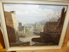 E.DUNSMORE. 20th.C.ENGLISH SCHOOL. ARR. CHURCH STREET, OLD GLOSSOP, SIGNED OIL ON CANVAS. 46 x
