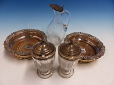 A PAIR OF SHEFFIELD PLATE WINE COASTERS, TOGETHER WITH TWO SILVER LIDDED CONDIMENT JARS AND A OIL