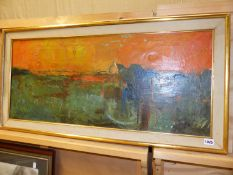 20th.C.SCHOOL. AN ABSTRACT LANDSCAPE, OIL ON CANVAS. 40 x 92cms.